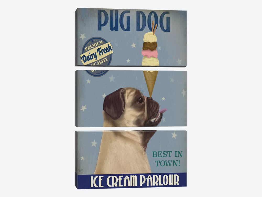 Pug, Fawn, Ice Cream 3-piece Canvas Artwork