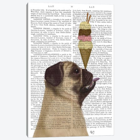 Pug, Fawn, Ice Cream, Print BG Canvas Print #FNK764} by Fab Funky Canvas Wall Art