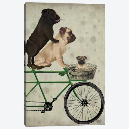 Pugs on Bicycle Canvas Print #FNK765} by Fab Funky Canvas Wall Art