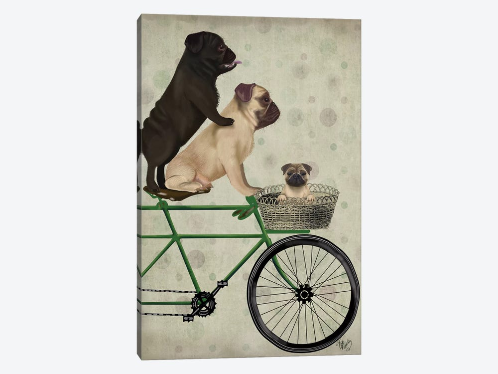 Pugs on Bicycle by Fab Funky 1-piece Canvas Wall Art