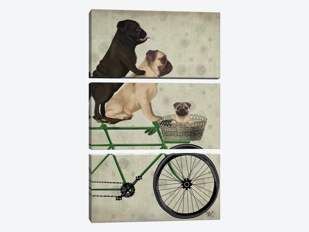 Pugs on Bicycle by Fab Funky 3-piece Canvas Artwork