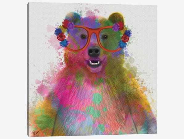 Rainbow Splash Bear Canvas Print #FNK767} by Fab Funky Canvas Artwork
