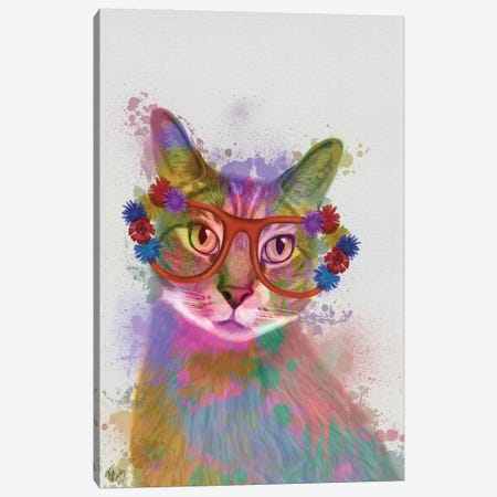 Rainbow Splash Cat I Canvas Print #FNK769} by Fab Funky Art Print