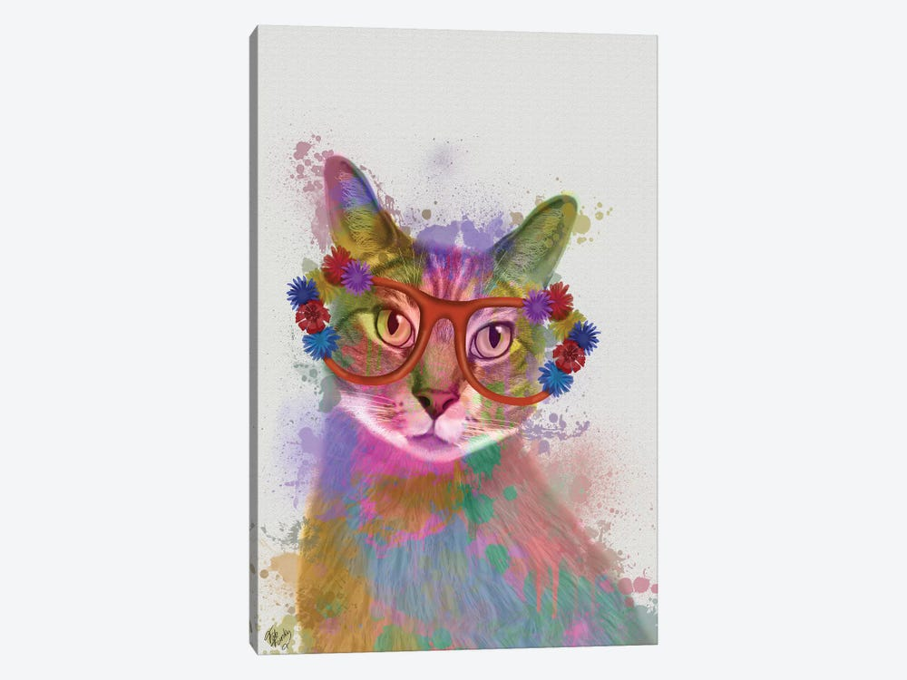 Rainbow Splash Cat I by Fab Funky 1-piece Canvas Artwork