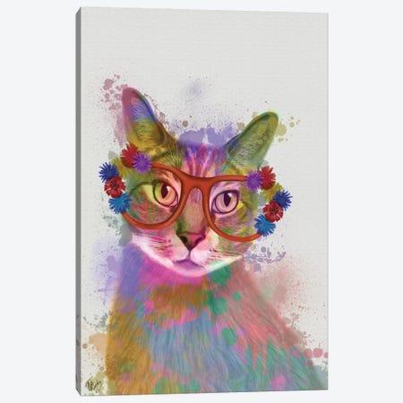 Rainbow Splash Cat I Canvas Print #FNK769} by Fab Funky Art Print