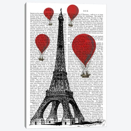 Eiffel Tower 3-Piece Canvas #FNK76} by Fab Funky Art Print