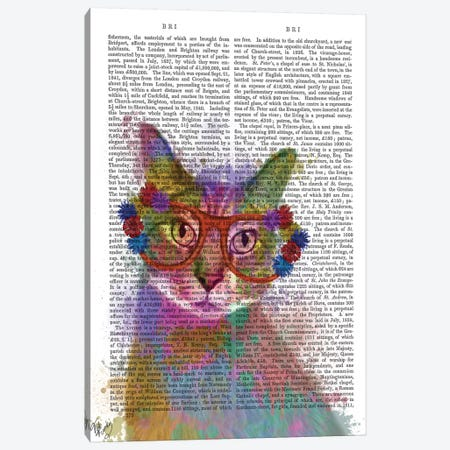 Rainbow Splash Cat I, Print BG Canvas Print #FNK770} by Fab Funky Canvas Art