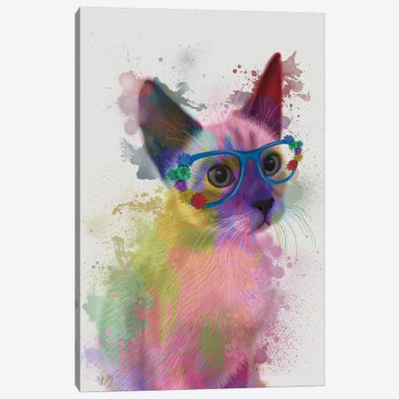 Rainbow Splash Cat II Canvas Print #FNK771} by Fab Funky Canvas Wall Art