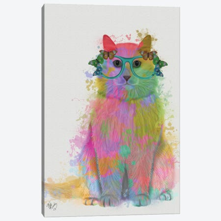 Rainbow Splash Cat III, Full Canvas Print #FNK773} by Fab Funky Canvas Art