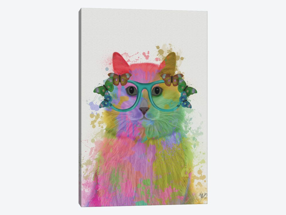 Rainbow Splash Cat III, Portrait by Fab Funky 1-piece Canvas Art