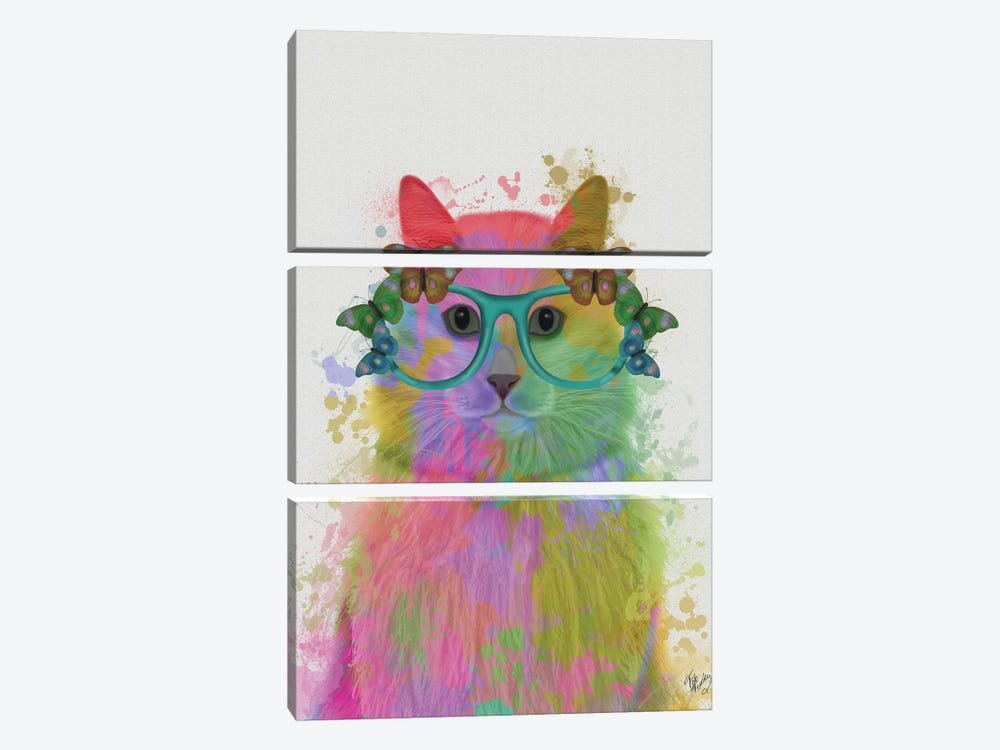 Rainbow Splash Cat III, Portrait by Fab Funky 3-piece Canvas Wall Art
