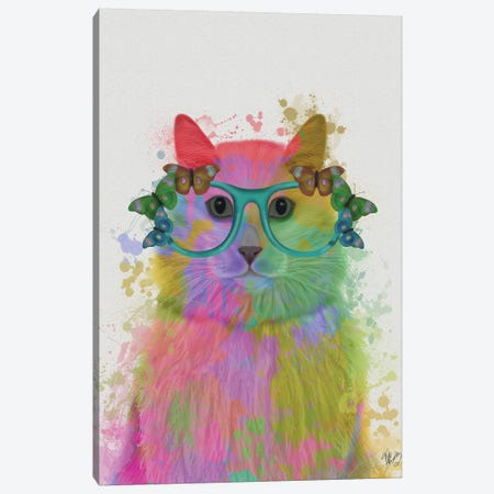 Rainbow Splash Cat III, Portrait Canvas Print #FNK774} by Fab Funky Canvas Art Print