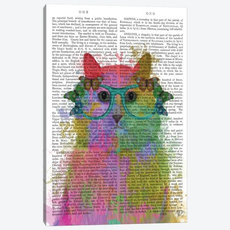 Rainbow Splash Cat III, Print BG Canvas Print #FNK775} by Fab Funky Art Print