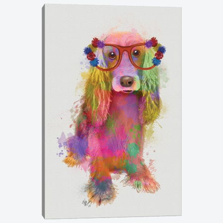 Rainbow Splash Cocker Spaniel, Full Canvas Print #FNK776} by Fab Funky Canvas Art Print