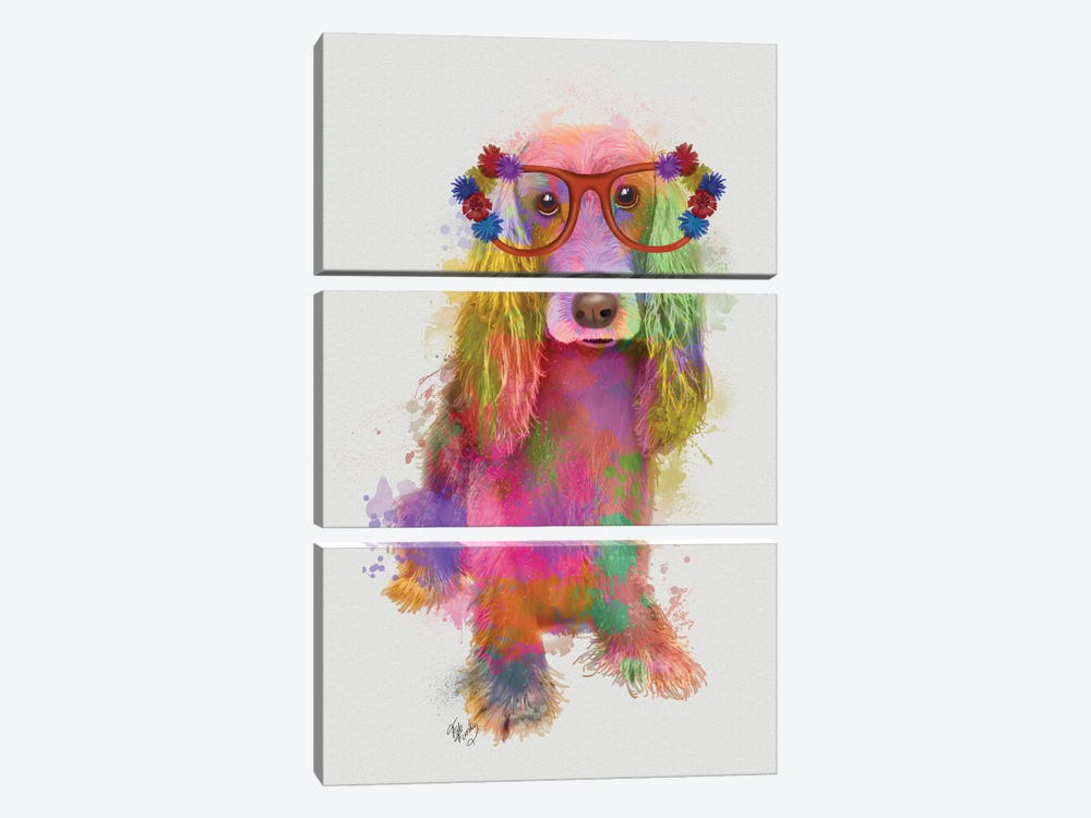 Rainbow Splash Cocker Spaniel, Full by Fab Funky 3-piece Canvas Art
