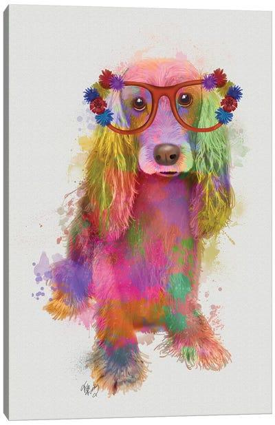 Rainbow Splash Cocker Spaniel, Full Canvas Art Print