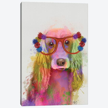 Rainbow Splash Cocker Spaniel, Portrait Canvas Print #FNK777} by Fab Funky Canvas Print