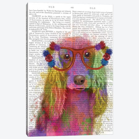 Rainbow Splash Cocker Spaniel, Portrait, Print BG Canvas Print #FNK778} by Fab Funky Canvas Wall Art