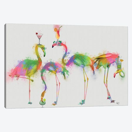 Rainbow Splash Cocktail Party Canvas Print #FNK779} by Fab Funky Canvas Artwork