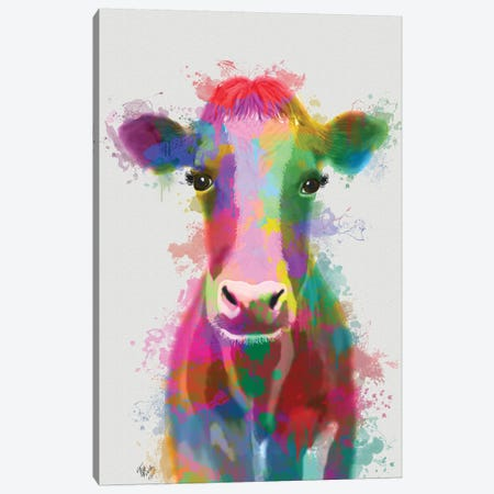 Rainbow Splash Cow Canvas Print #FNK780} by Fab Funky Canvas Art Print