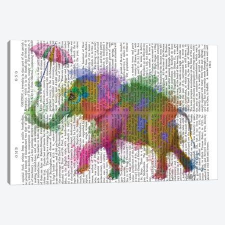 Rainbow Splash Elephant Canvas Print #FNK782} by Fab Funky Canvas Art Print