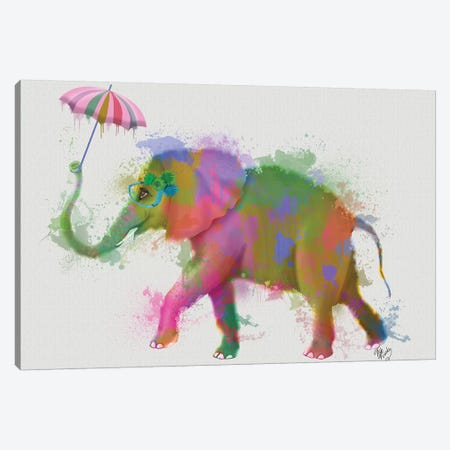 Rainbow Splash Elephant, Print BG Canvas Print #FNK783} by Fab Funky Canvas Print