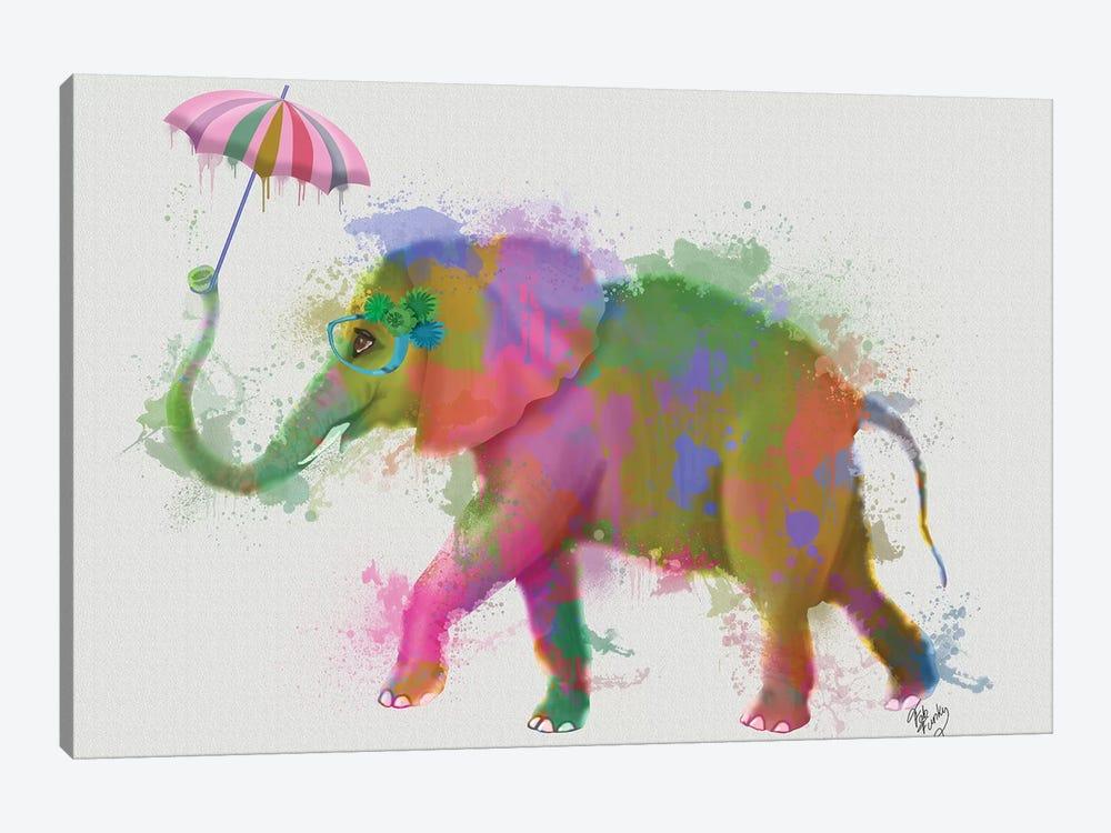 Rainbow Splash Elephant, Print BG by Fab Funky 1-piece Canvas Artwork
