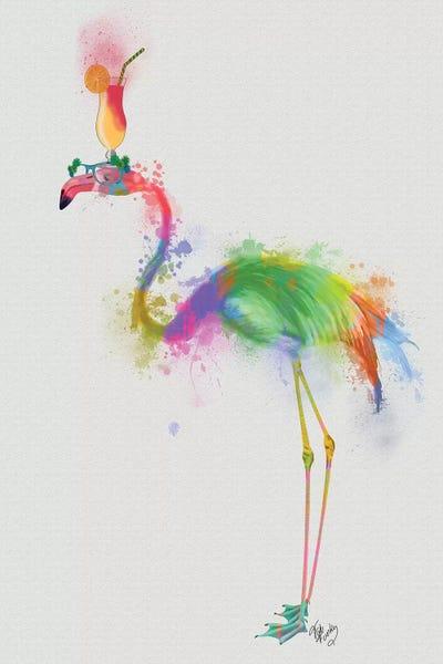 Rainbow Splash Flamingo I Art Print by Fab Funky | iCanvas