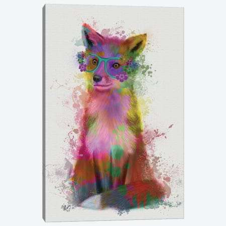 Rainbow Splash Fox I Canvas Print #FNK791} by Fab Funky Canvas Artwork