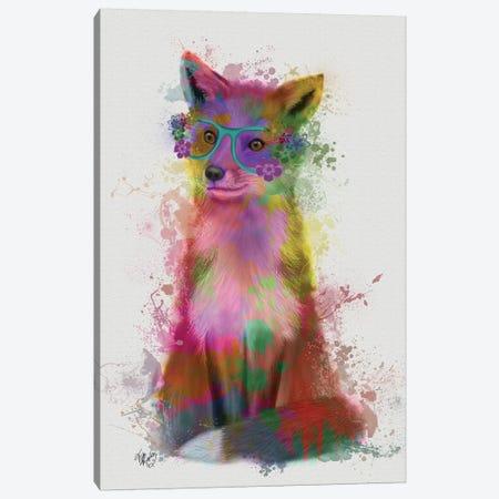 Rainbow Splash Fox I Canvas Print #FNK791} by Fab Funky Canvas Artwork