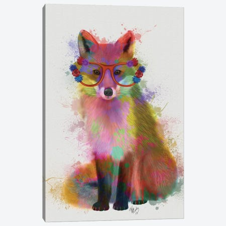 Rainbow Splash Fox II 3-Piece Canvas #FNK792} by Fab Funky Canvas Art