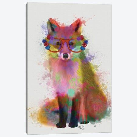 Rainbow Splash Fox II Canvas Print #FNK792} by Fab Funky Canvas Art