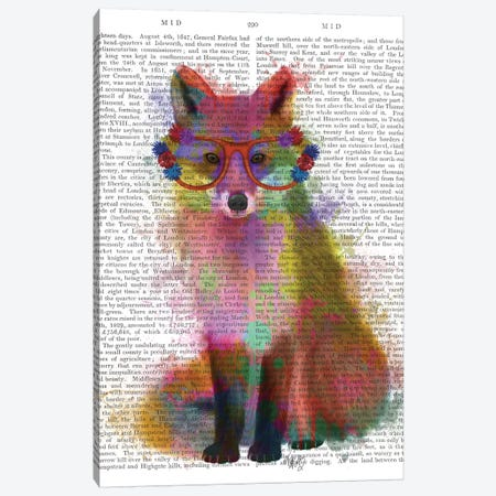 Rainbow Splash Fox II, Print BG Canvas Print #FNK793} by Fab Funky Canvas Artwork