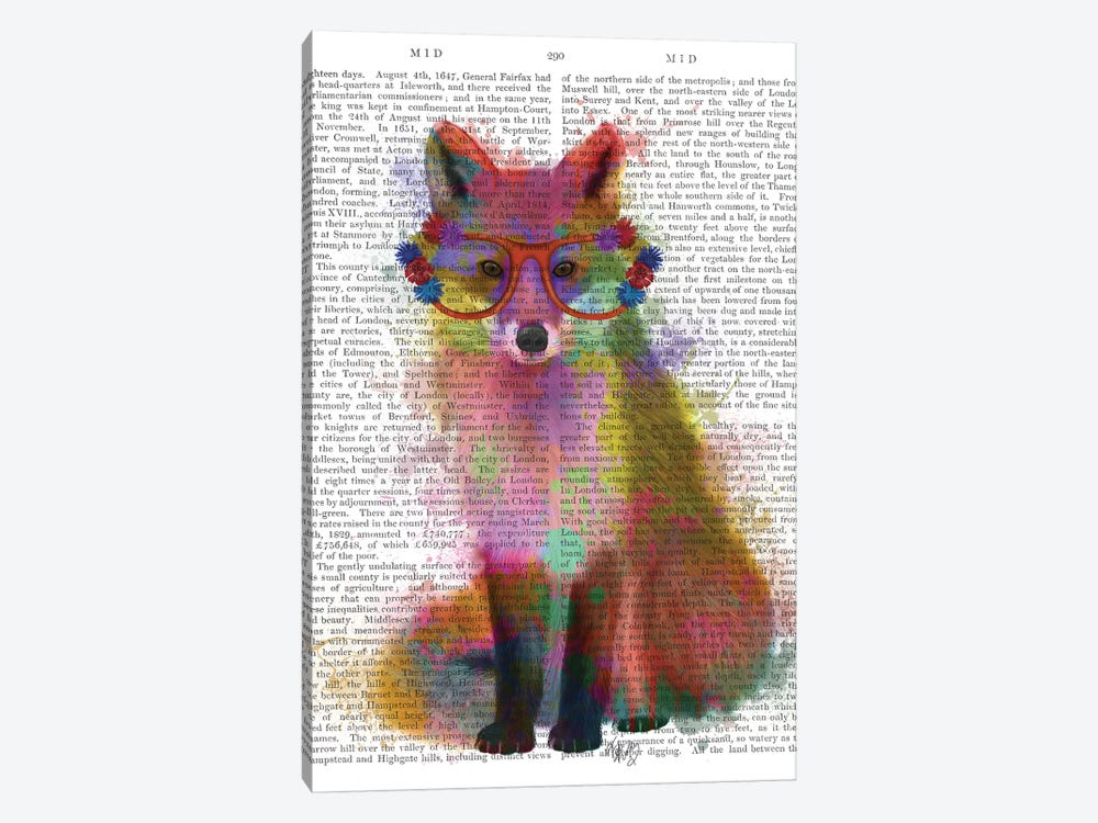 Rainbow Splash Fox II, Print BG 1-piece Art Print