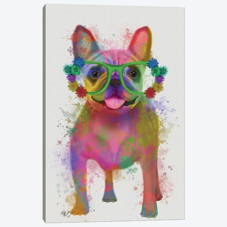 Rainbow Splash French Bulldog, Full Canvas Print #FNK795} by Fab Funky Art Print