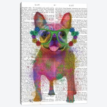 Rainbow Splash French Bulldog, Full, Print BG Canvas Print #FNK796} by Fab Funky Canvas Print