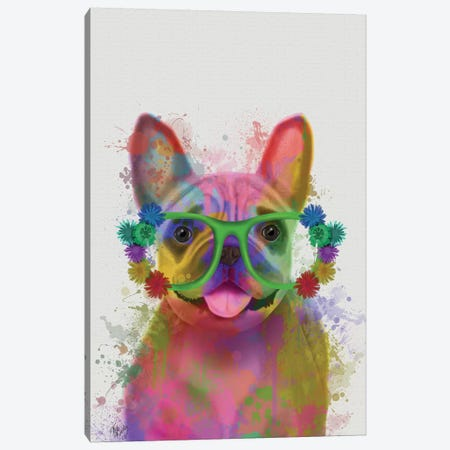 Rainbow Splash French Bulldog, Portrait Canvas Print #FNK797} by Fab Funky Art Print