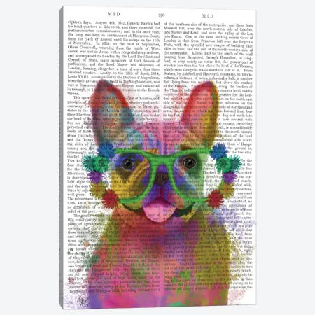 Rainbow Splash French Bulldog, Portrait, Print BG Canvas Print #FNK798} by Fab Funky Canvas Art