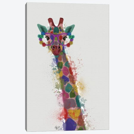 Rainbow Splash Giraffe I Canvas Print #FNK799} by Fab Funky Canvas Art