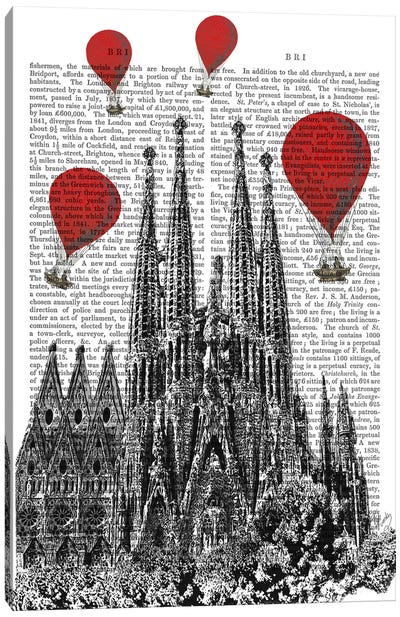 Red Hot Air Balloons Series: Sagrada Familia Canvas Print #FNK79