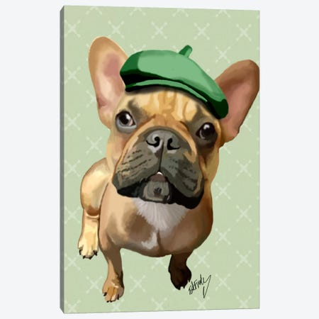 Brown French Bulldog With Green Hat Canvas Print #FNK7} by Fab Funky Canvas Print