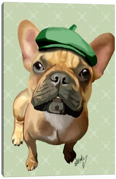 Brown French Bulldog With Green Hat Canvas Art Print
