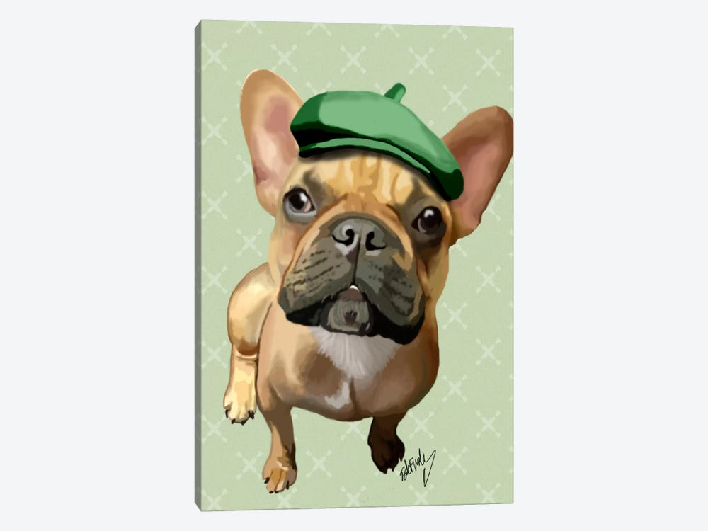 Brown French Bulldog With Green Hat by Fab Funky 1-piece Canvas Wall Art