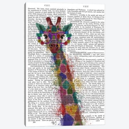 Rainbow Splash Giraffe I, Print BG Canvas Print #FNK800} by Fab Funky Canvas Wall Art