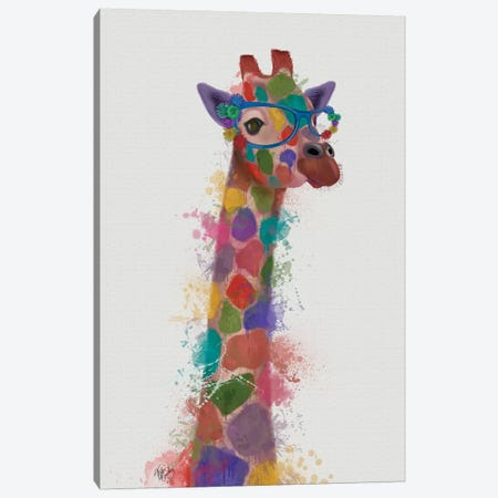 Rainbow Splash Giraffe II Canvas Print #FNK801} by Fab Funky Canvas Wall Art