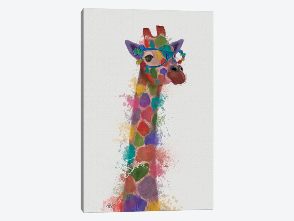 Rainbow Splash Giraffe II by Fab Funky 1-piece Canvas Art