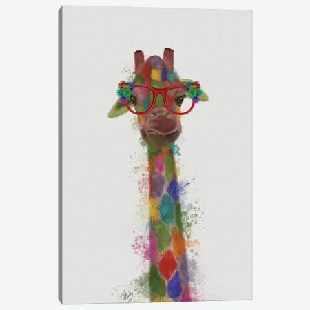 Rainbow Splash Giraffe III Canvas Print #FNK803} by Fab Funky Canvas Art