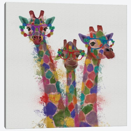 Rainbow Splash Giraffe Trio Canvas Print #FNK805} by Fab Funky Canvas Art Print