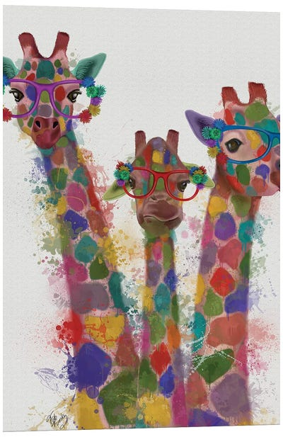 Rainbow Splash Giraffe Trio Canvas Art Print