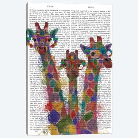 Rainbow Splash Giraffe Trio, Print BG Canvas Print #FNK806} by Fab Funky Art Print